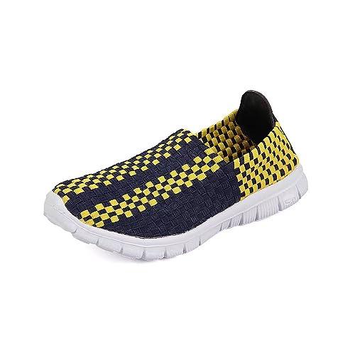 QANSI Zapatos Deportivos Zapatillas Ligeras Mocasines Tejidos Multicolores Zapatillas Transpirables para Caminar Zapatos sin Cordones: Amazon.es: Zapatos y ...