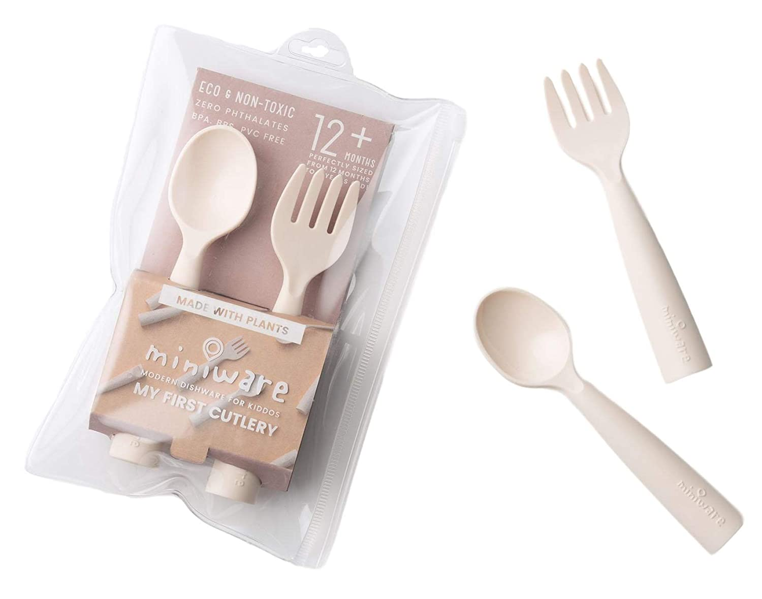 Miniware My First Cutlery Set with Training Spoon, Fork, and Carry Case for Baby Toddler Kids – Promotes Self Feeding | Eco-Friendly Utensils | Modern and Durable Design | Dishwasher Safe (Vanilla)