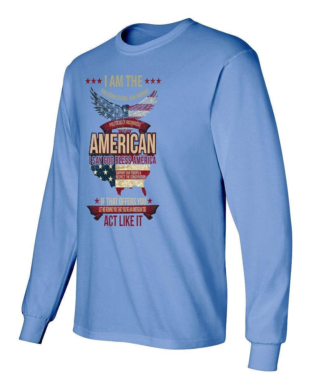 RIVEBELLA Patriotic Politically Incorrect American Mens Long Sleeve T-Shirt