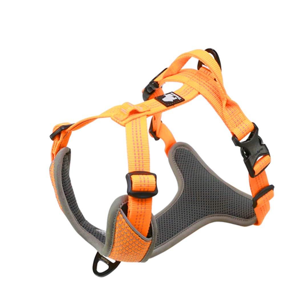 orange L orange L LSLMCS Pet Supplies Dog Leash Small Medium Dog Leash Large Dog Pet Chest Strap Supplies Vest Pet Leash (color   orange, Size   L)