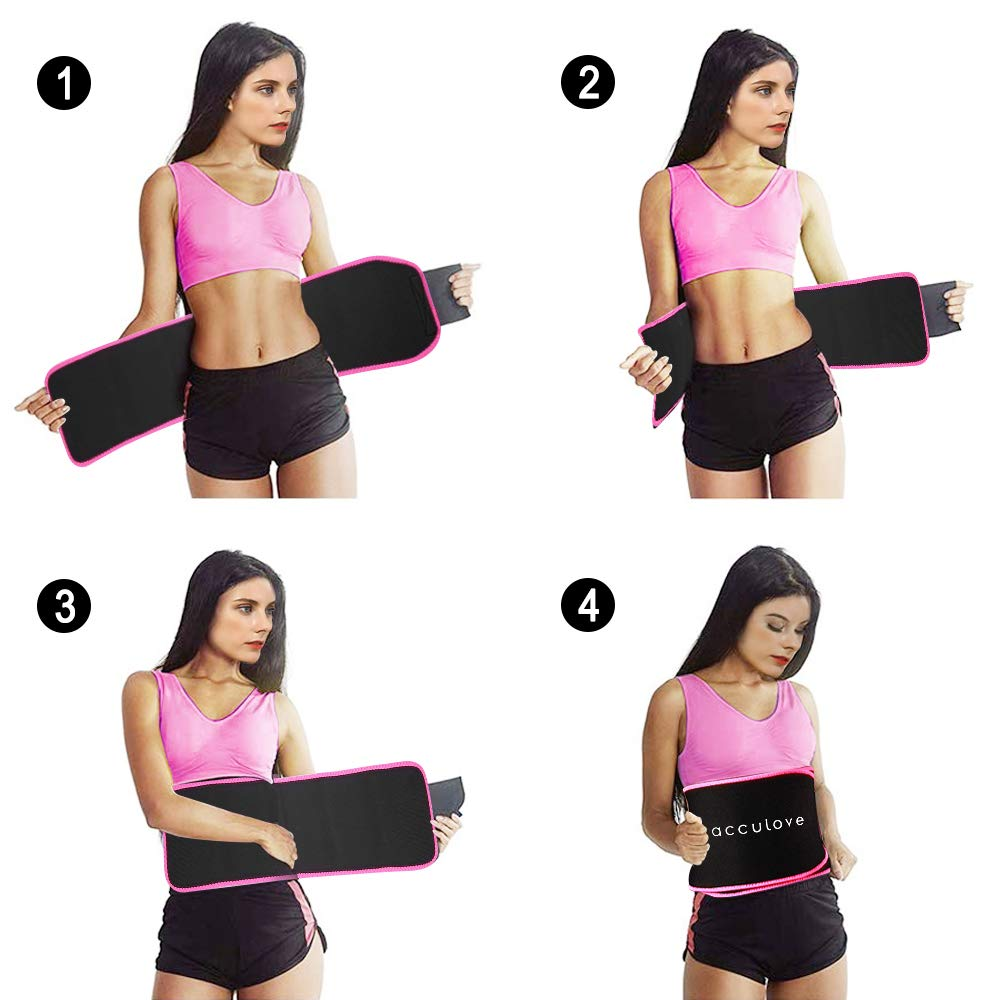 acculove Waist Trimmer Belt,Waist Trainer for Women and Men,Slim Body Sweat for Weight Loss,Stomach Fat Burner,Adjustable Belly Band,Lumbar Support Neoprene Wrap with Sauna Suit Effect