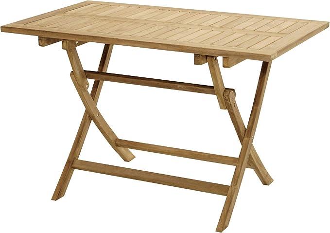 Mesa plegable Ron 100 x 60 x 75 cm, madera de teca, muebles de jardín, terraza: Amazon.es: Iluminación