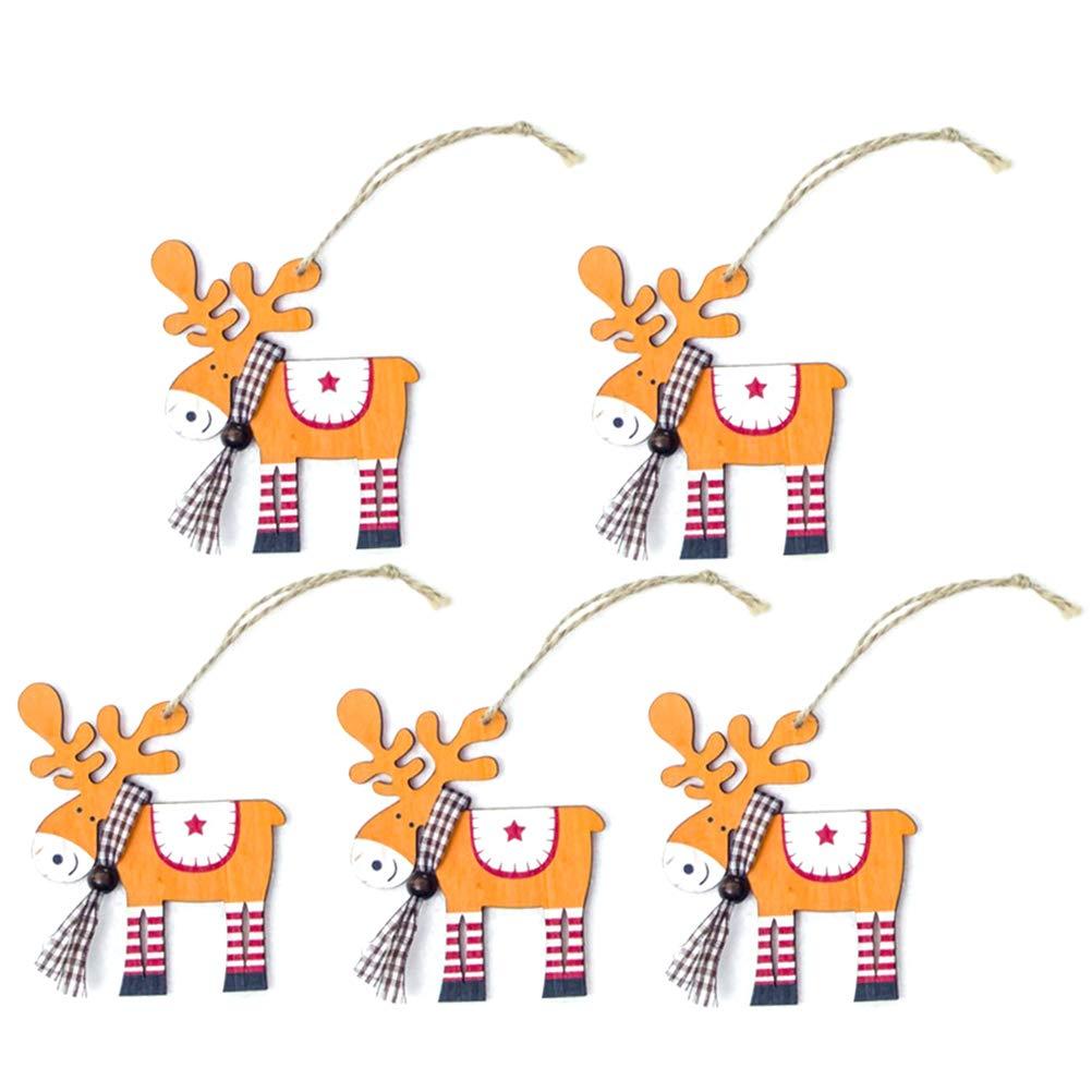 BESTOYARD Sapin de Noël en Bois Peint avec des Ornements Suspendus 5 pièces (Orange)