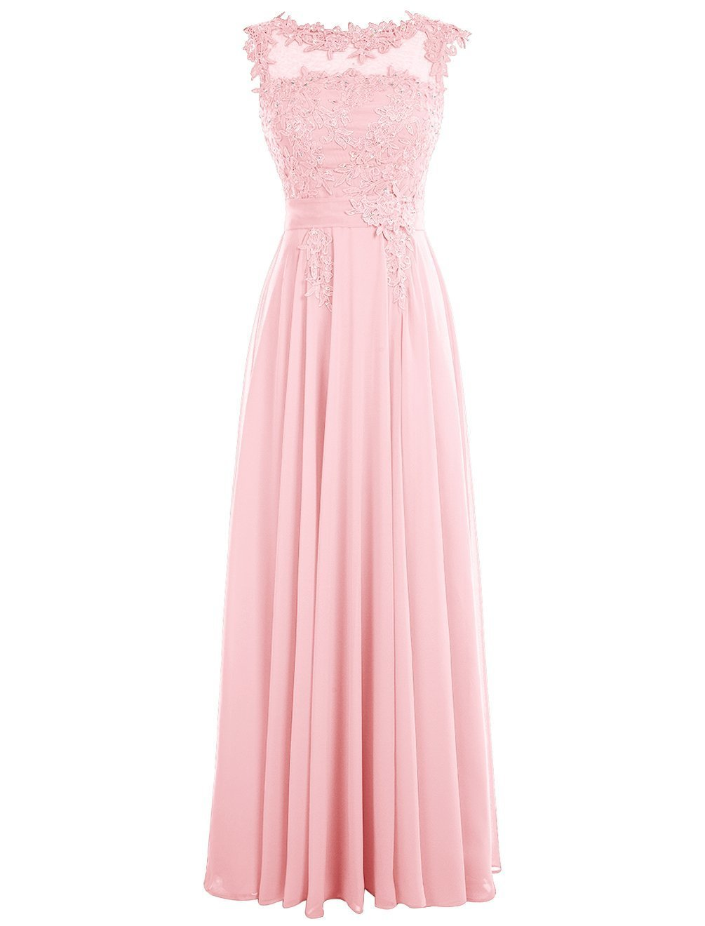 Dressystar Long Bridesmaid Chiffon Prom Dresses Scoop Gowns with Appliques V Back Size 24W Pink