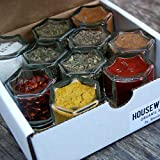 PANTRY KIT: 10 Magnetic Jars FILLED with ORGANIC Herbs and Spices. Spice Storage Solution / Kitchen Space Saver. (Silver Lids)