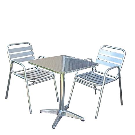 Mendler Ensemble Bistrot M28 Aluminium Table Carrée 2 Chaises