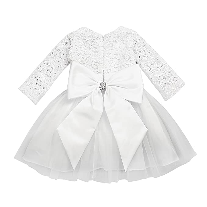 15dc718b8b47f FEESHOW Baby Girls Long Sleeve Crochet Lace Flower Baptism Dress Big  Bowknot Party Christening Gown