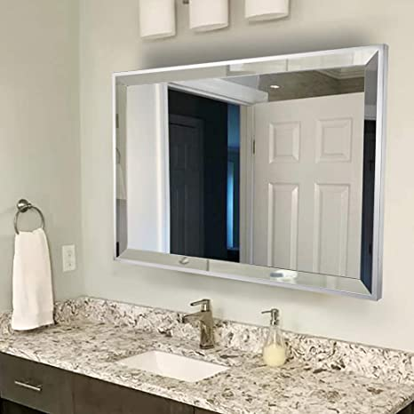 Amazon Com Chende Rectangle Wall Bathroom Mirror With 2 Big Beveled Edge 36 X28 Large Vanity Mirror With Stainless Steel Frame For Makeup Horizontally Or Vertically Design Kitchen Dining