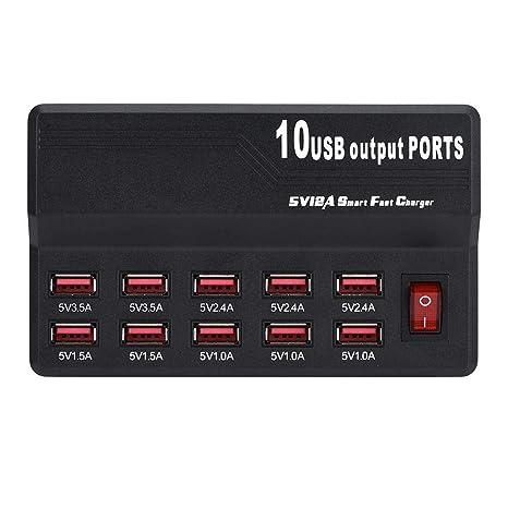 Amazon.com: Mugast 60W 12A / 5V USB Cargador Rápido, 10 ...