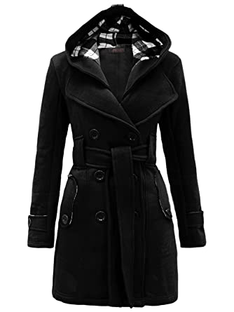 Envy Boutique Women's Military Button Hooded Fleece Belted Jacket ...