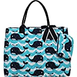 Ngil Quilted Cotton Extra Large Overnight Travel School Tote Bag (Splash Whale Navy Blue)