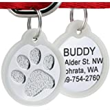 Paw Print Round Stainless Steel Pet ID Tags - Dog and Cat ID Tags.