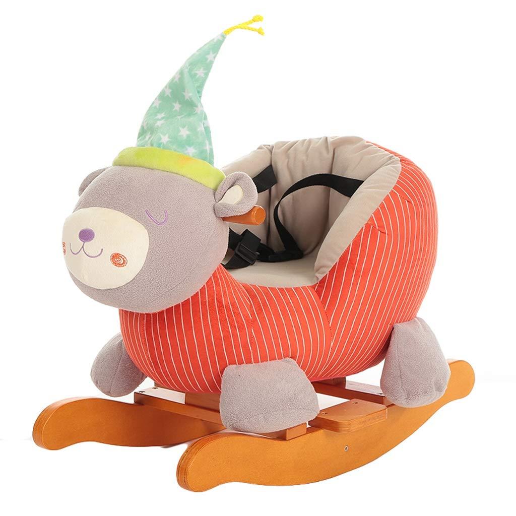 Cavallo a dondolo QIQIDEDIAN Bambini Rocking Horse Music Trojan Baby Toy Baby Rocking Chair in Legno massello Regalo (colore   A)