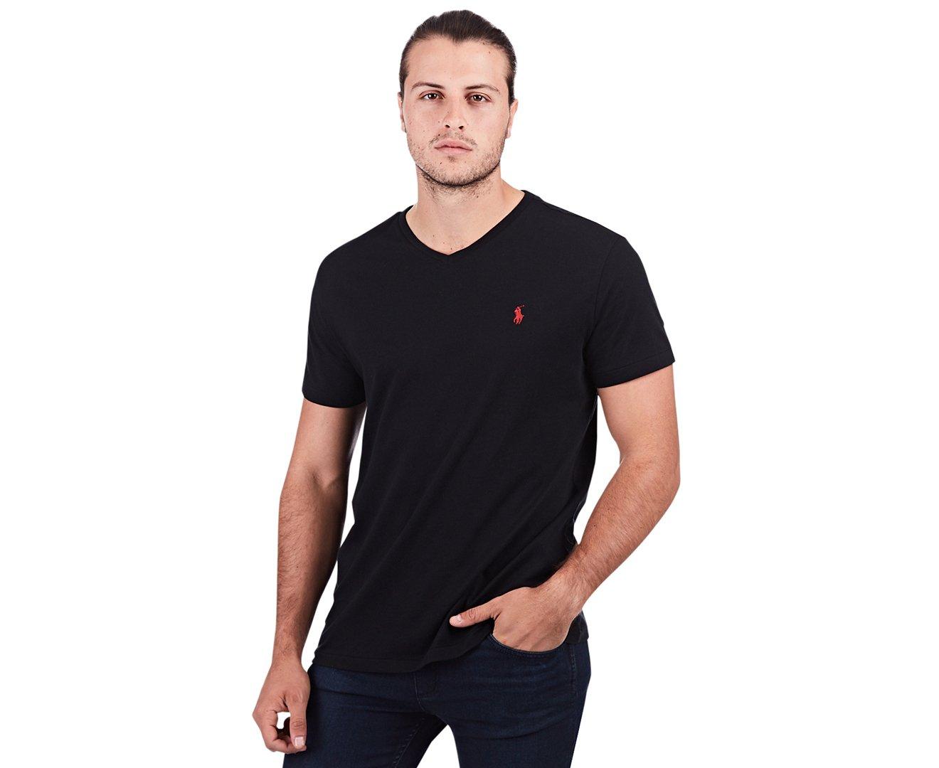 Polo Ralph Lauren Men's Classic Fit V-neck T-shirt (Large, RL Black) by Polo Ralph Lauren