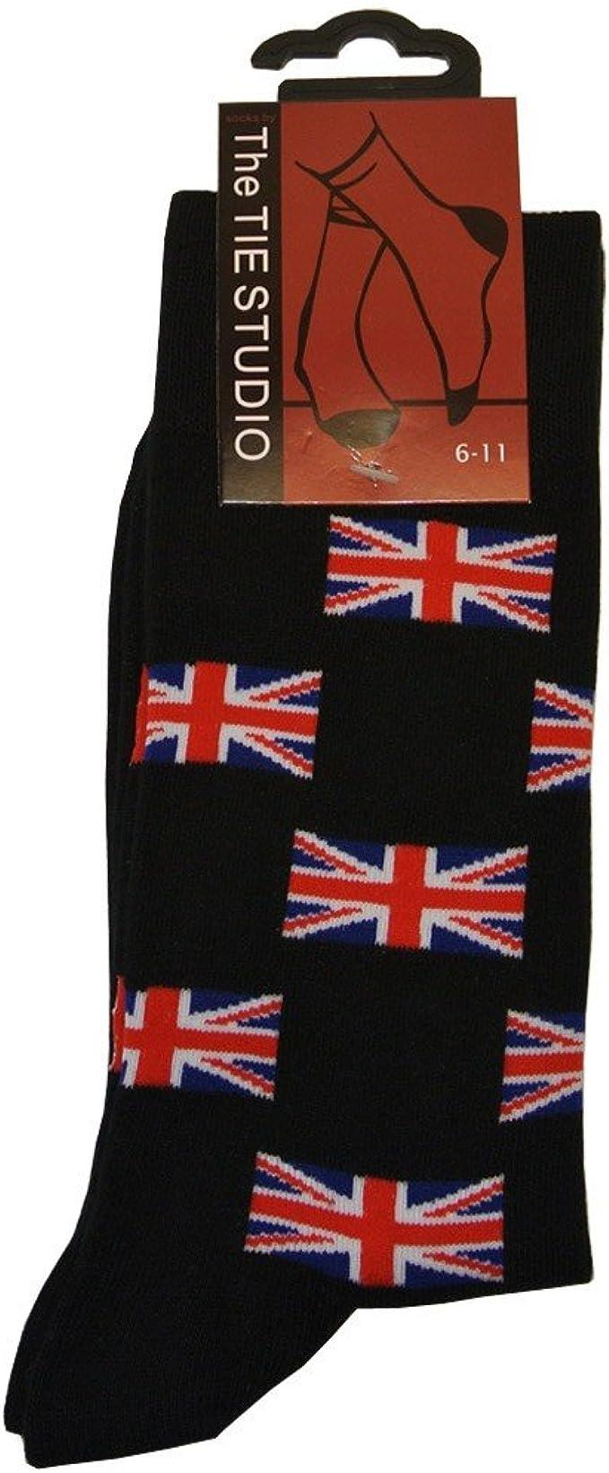Mens Unión Jack bandera algodón calcetines – tamaño 6 – 11 – negro ...