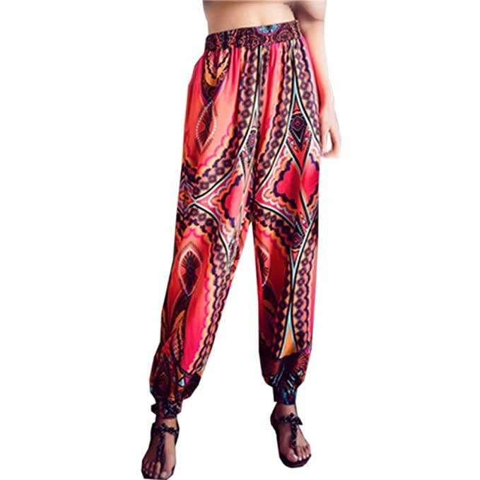 Amazon.com: Womens National Wind Bohemia Harem Pants Loose ...