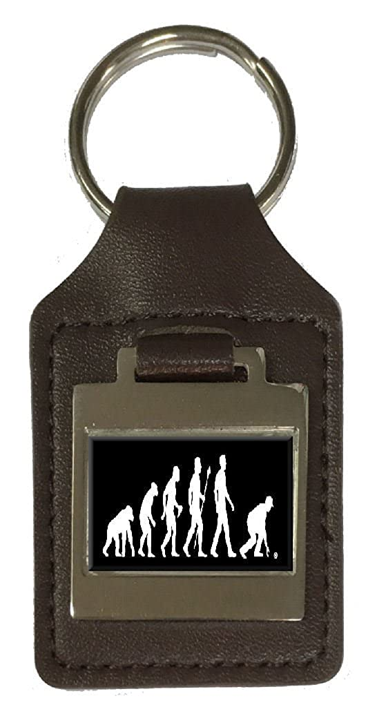 Leather Keyring Engraved Evolution Ape to Man Bowls