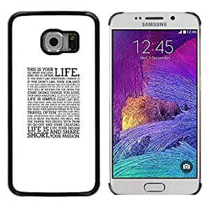 LECELL--Funda protectora / Cubierta / Piel For Samsung Galaxy S6 EDGE SM-G925 -- Text Quote Motivational Minimalist --