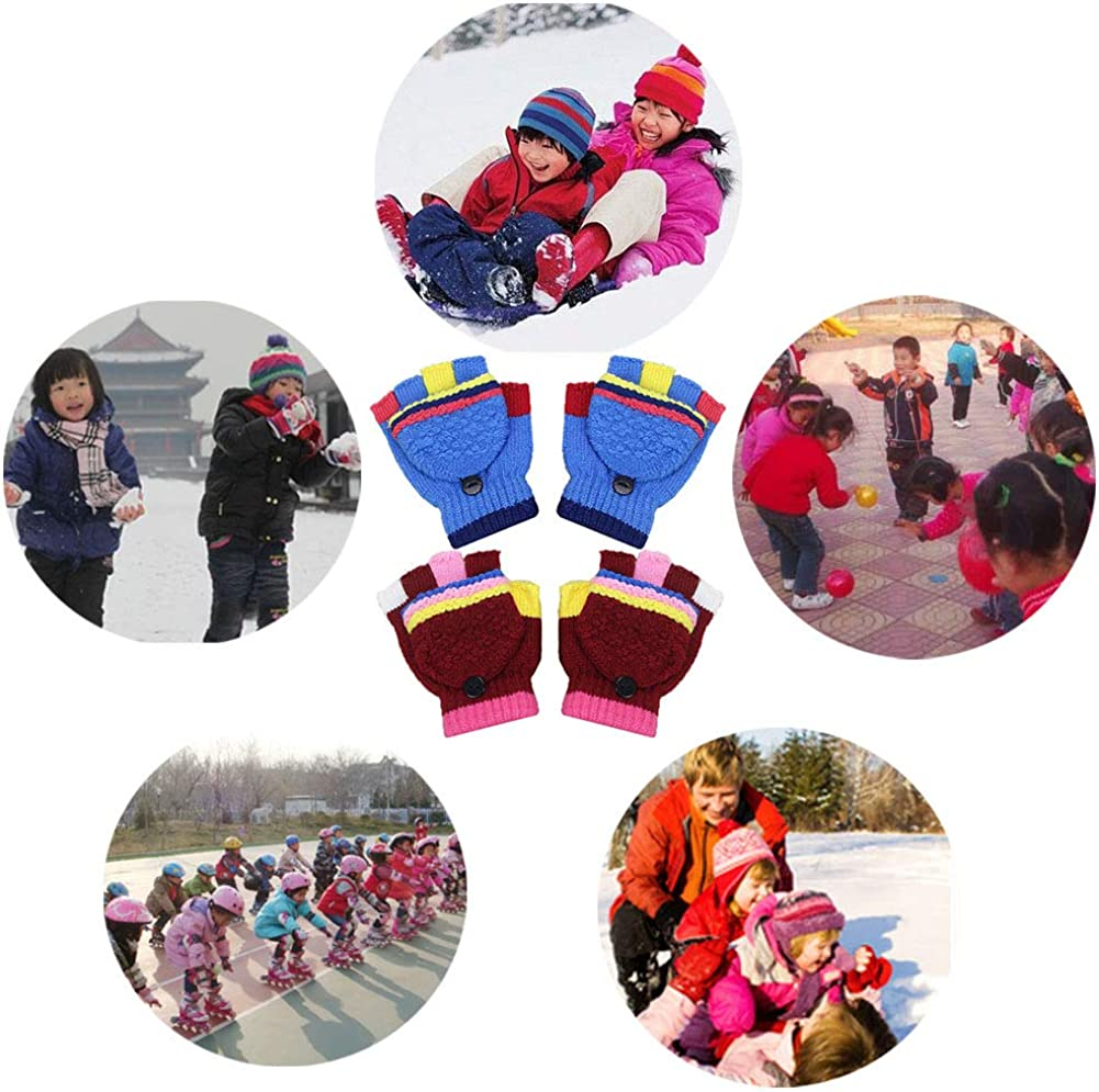 Blue INTVN 2 Pairs Fingerless Mittens for Kids Convertible Knitted Magic Half Finger Gloves,Boys Girls Winter Warm Flip Top Gloves 3-9 years Old Red