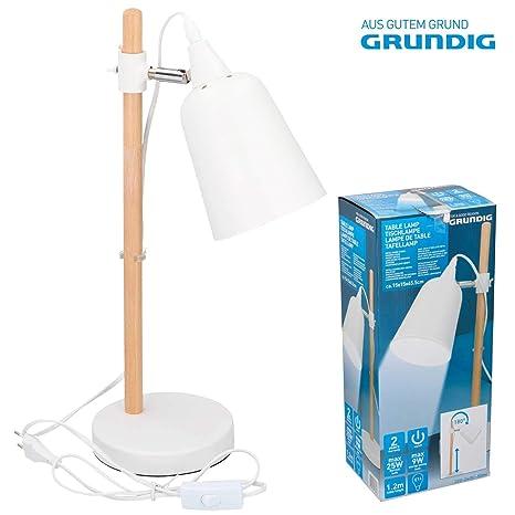 GRUNDIG 07030 - Lámpara de mesa con pie de madera y pantalla ...