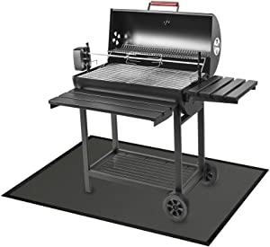 """Rosy Earth Flame Retardant Mat Under The Grill, Charcoal Grills, Gas Grills, Electric Grills to Protect The Deck Terrace Floor (Black, 39""""47"""")"""