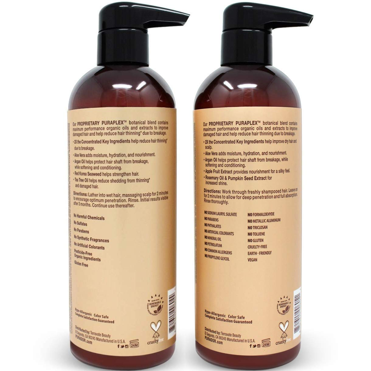 PURA D'OR Professional Grade Golden Biotin Anti-Hair Thinning 2X Concentrated Actives Shampoo & Conditioner Set, Sulfate Free, Natural Ingredients, Clinically Tested, Men & Women (Packaging may vary) by PURA D'OR (Image #3)