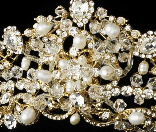 Princess Gold Swarovski and Freshwater Pearl Bridal Tiara