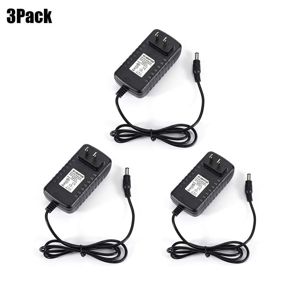 AIMELED Power Adaptor 12V 3A Transformer Power Supply for LED Strip Light, Tape Light, Rope Light, Wireless Router, ADSL Cats, Security Cameras and other Low Voltage Device(3A 36W) (12V/3A-3Pack)