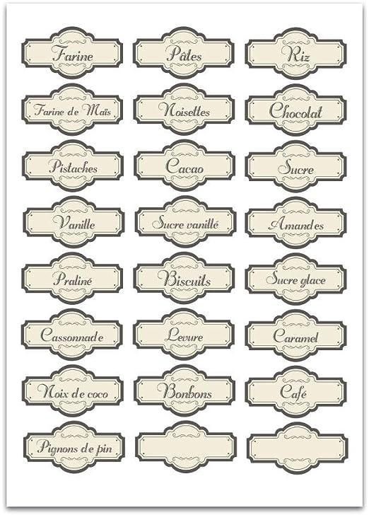E42 Planche A4 de stickers Etiquettes bocaux épices autocollant adhésif
