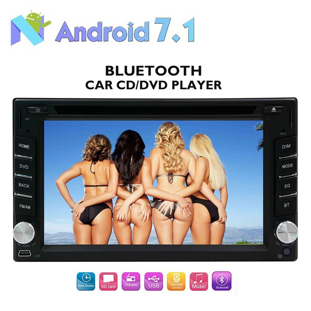 6.2インチのAndroid 7.1オクタコアのカーステレオ - GPSナビゲーションラジオ2ギガバイトのRAM 32ギガバイトROM-サポート64ギガバイトのUSB / SDとダッシュのBluetooth DVD CDプレイヤーで2ディン、3 / 4G WIFI、OBD2、バックアップカメラ、携帯電話の鏡 B0778RW2PB