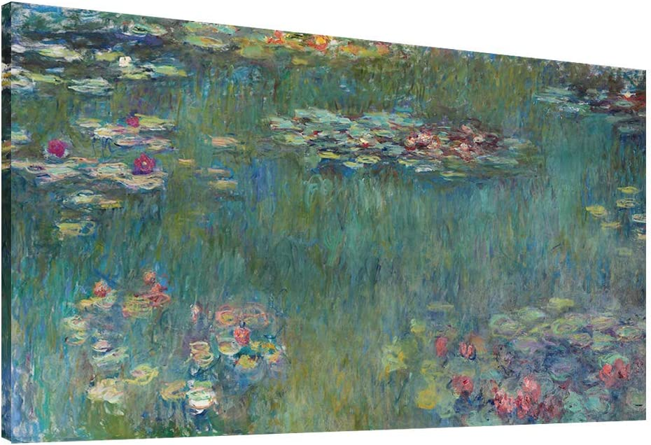 """Vijf Arte Large Canvas Wall Art Water Lilies by Claude Monet Famous Painting - Classic Canvas Art Wall Decor Nature Picture Print with Framed for Home Office Wall Decor-28"""" x60"""""""