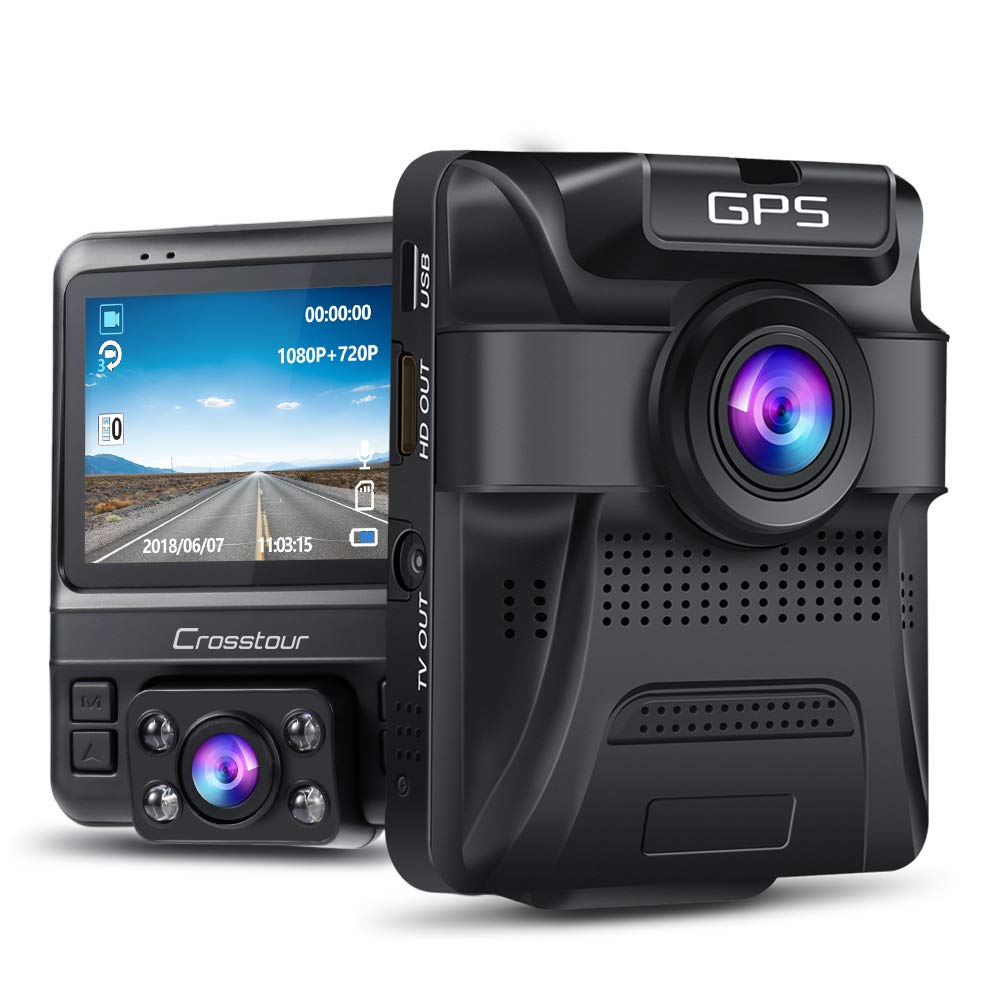 Uber Dual Lens Dash Cam Built-in GPS in Car Dashboard Camera Crosstour 1080P Front and 720P Inside with Parking Monitoring, Infrared Night Vision, Motion...