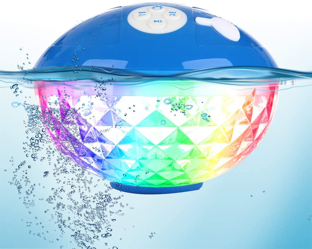 Uekars Altavoz de Ducha Bluetooth, IPX7 Altavoces Flotantes Impermeables para Piscina con Luz LED de Colores, Altavoz Inalámbrico Portátil para Bañera de Hidromasaje, SPA, Playa, Fiesta, Campamento