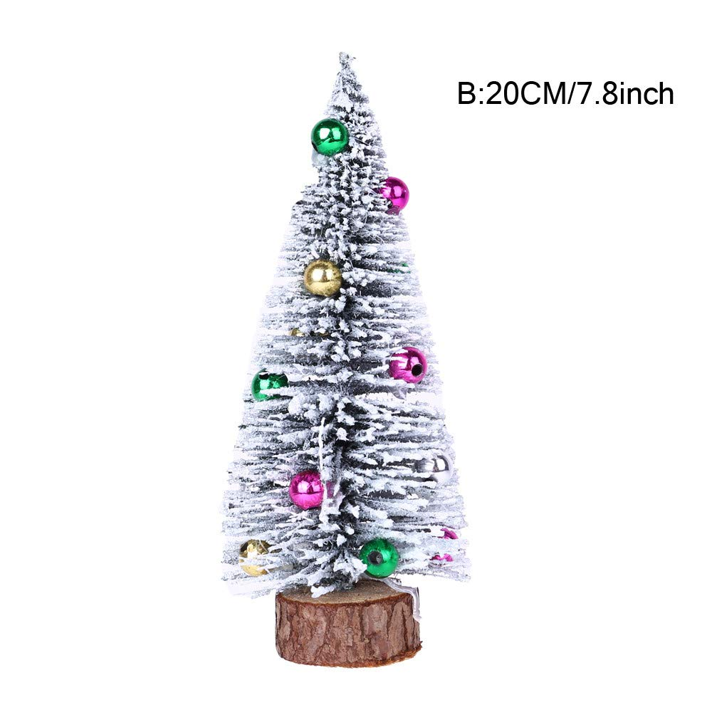 Christmas Tree Mini Pine Tree Wood Base Cold Snow Sticky Beads Home Table Top Xmas Decor (20CM)