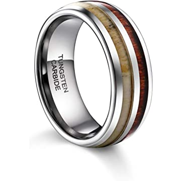 TUSEN JEWELRY Mens Wedding Band Deer Antler&Wood Tungsten Ring Comfort Fit 8MM