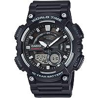 CASIO 系列男式 ANALOGUE/数字石英手表树脂带–aeq-110W