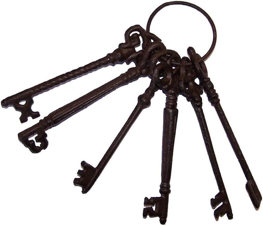 Condecoro Nostalgie - Juego de 6 llaves antiguas (hierro fundido), diseño oxidado