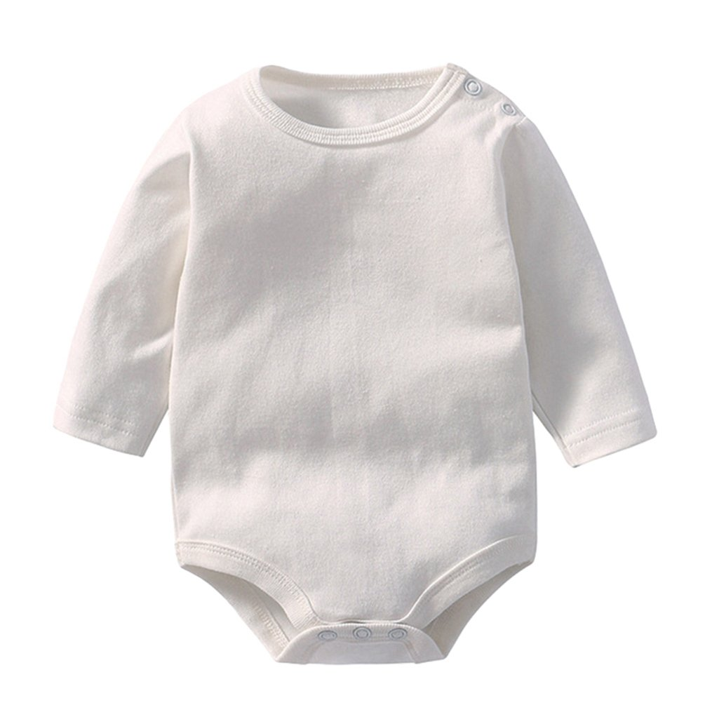 Dooxi Baby Boys Girls Long Sleeve Plain Bodysuit Comfortable Baby Romper Jumpsuits