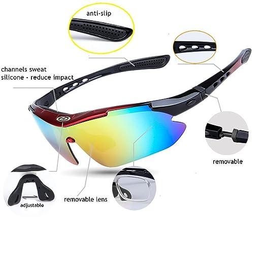 Exterior Pesca Cricket de tenis de conducción Golf - Gafas de ciclismo bicicleta con funda y 5 Lentes Intercambiables polarizadas protección UV 400 gafas de ...