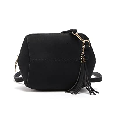dd46840f1cb Smilecoco Women Vintage Suede PU Leather Tassel Shoulder Bags Cross Body  Bags Small Purse, Black