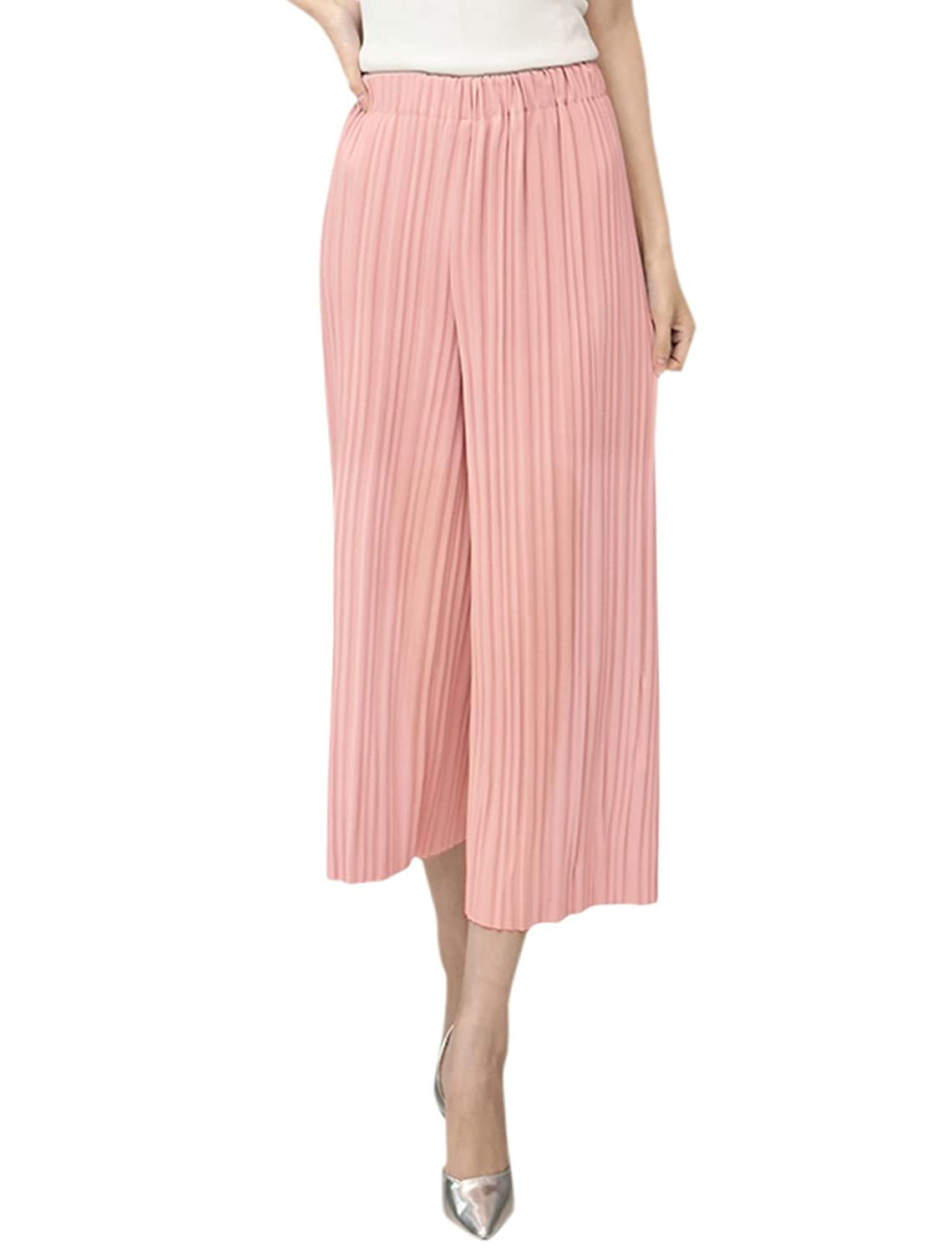 uxcell Women High Waist Semi Sheer Pleated Cropped Culottes