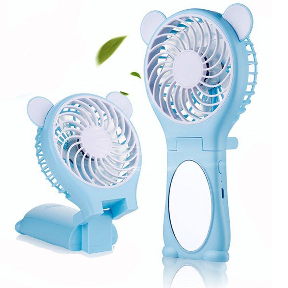 Sammid Mini Handheld Personal Fan,Mini USB Rechargeable Portable Table Fan,Handheld Cute Fans for Girls - Blue