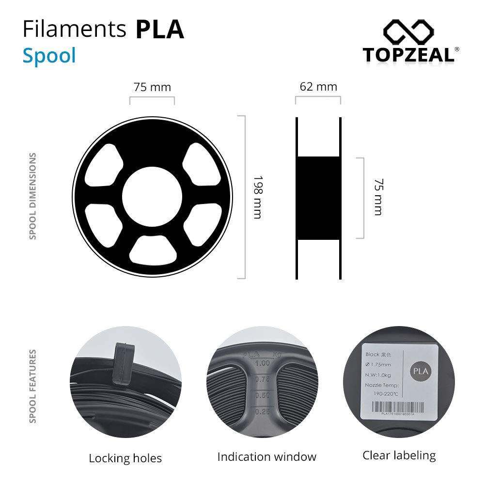 filamento PLA de color transparente serie 1.75 mm Transparent-Green TOPZEAL Filamento de impresora 3D precisi/ón dimensional +//- 0.05 mm carrete de 1 KG para impresora 3D y l/ápiz 3D