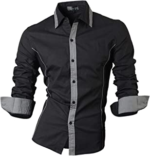 Jeansian Hombre Camisa Moda Casual Button Down Slim Fit Long Sleeves Dress  Shirt Tops Z029 df847f124231e