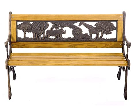 Cast iron with asian hardwood benches