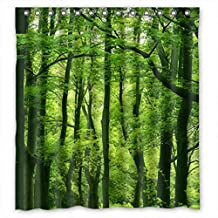 Beautiful Fresh Green Forest Fabric Shower Curtain 66(W)X72(H) by Shower Curtain