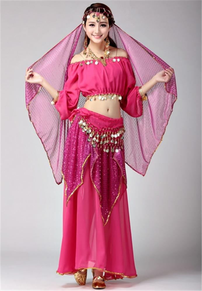 Rose peiwen Spectacle de Danse Indienne féminine Costume scène Danse vêtements de Perforhommece