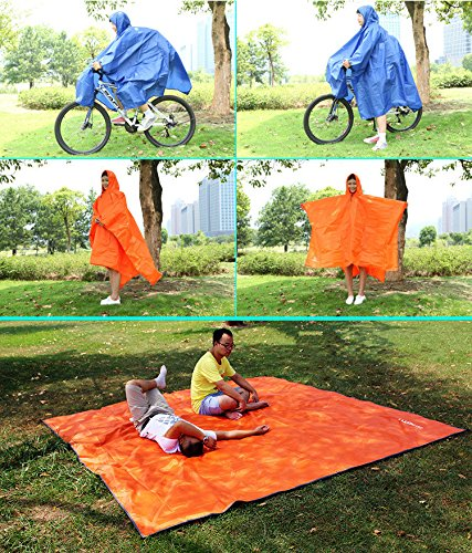Vacio Outdoor Raincoat Waterproof, 3 in 1 Multifunctional Rain Poncho Travel Rain Poncho with Hood for Backpack Awning Climbing Camping Hiking Waterproof Camping Tent Mat(Orange) by Vacio (Image #3)