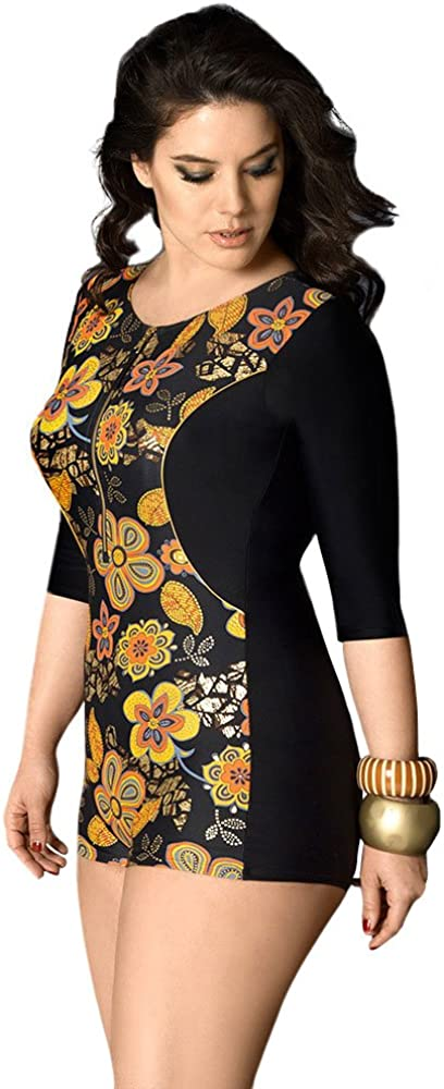 One Piece Swimsuit Floral Printed BALNEAIRE Womens Plus Size Long Sleeve Rash Guard Swimsuit UPF 50