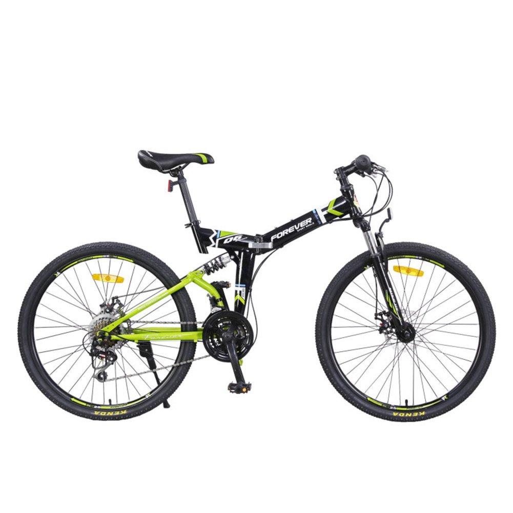 登山 折りたたみ自転車, 大人 折りたたみ自転車 24 スピード 男性 ダブルの衝撃吸収材 柔らかい尻尾 女性 折りたたみ自転車 B07D2BJ5JK 24inch|緑 緑 24inch